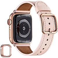 MNBVCXZ Genuine Leather Replacement Strap Compatible With Apple Watch