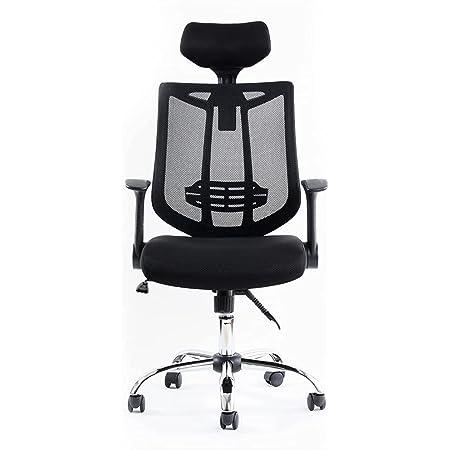 アイリスプラザ オフィスチェア メッシュハイバック デスクチェア パソコンチェア 椅子 座面昇降 ひじ掛け高さ調整 背面ランバーサポート ヘッドレスト3段階高さ調整 100~128度リクライニング MOC-61BK ブラック