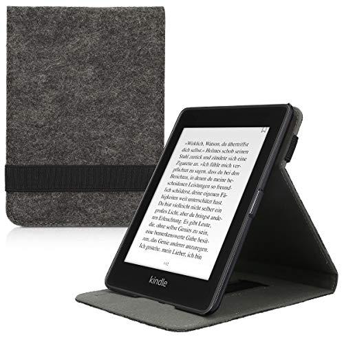 kwmobile Hülle kompatibel mit Amazon Kindle Paperwhite (10. Gen - 2018) - Schlaufe Ständer - e-Reader Schutzhülle - Filz Dunkelgrau