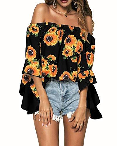 CNFIO - Blusa informal para mujer, hombros descubiertos, manga corta, estilo retro y bohemio, diseño elegante, ideal para el verano, la playa o fiestas, estampado floral