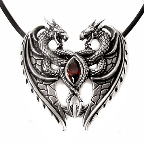 Anhänger Dragon Heart Drachenherz zwei Drachen aus 925 Sterling Silber mit rotem Zirkonia Liebe