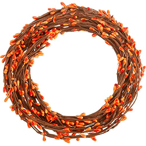 WILLBOND 64 Feet 30 Packs Ply Pip Berry Garland for Christmas Winter Indoor Outdoor Decor Head Wreaths Wedding Crowns (Orange)