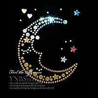 【コンビネーション】ラインストーン&スパングル スパンコールモチーフ ホットフィックス 【M】 お月さま