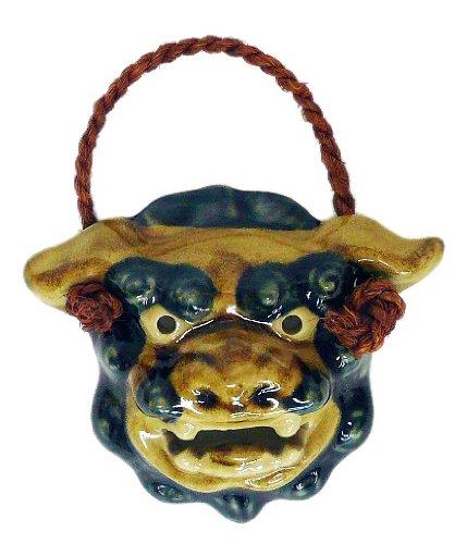 朝日陶器 オブジェ 白 - 面シーサー 上焼
