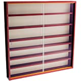 WATSONS REVEAL - 6 Shelf Glass Wall Collectors Display Cabinet - Mahogany