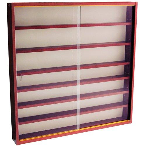 WATSONS REVEAL - 6 Shelf Glass Wall Collectors Display Cabinet - Mahogany
