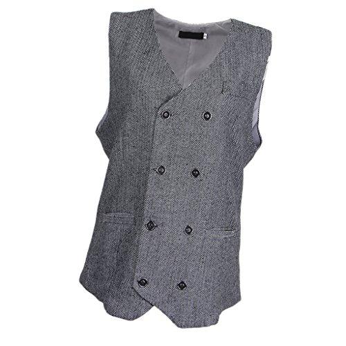Hellery Herren Fischgrät Tweed Anzug Weste Slim Fit Weste Bräutigam Bräutigam Form Weste - Weiß 2XL