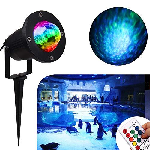 Water Wave Lights Christmas Projector - KOOT Outdoor Waterproof LED Ripple Garden Lights RGBW 10...