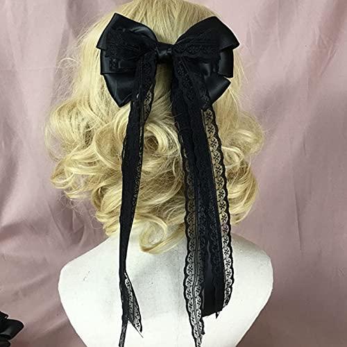 xiangwang Diadema para mujeres y niñas, accesorio para el cabello con lazo, con lazo, cinta para el pelo, accesorio para el pelo, color blanco y negro (color: M)