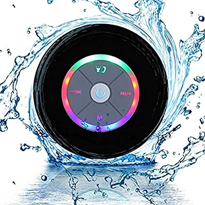 JUSTOP Rainbow LED Bluetooth Shower Speaker With FM Radio, IP67 Portable Fully Waterproof, Hands-Free Speakerphone. Rechargeable Using Micro USB, Perfect Speaker for Golf, Beach, Shower & Home (Black) from Justop Limited