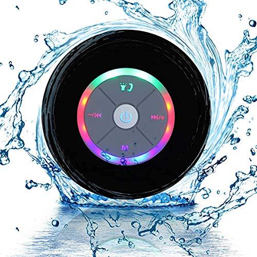 JUSTOP Rainbow LED Bluetooth Shower Speaker With FM Radio, IP67 Portable...