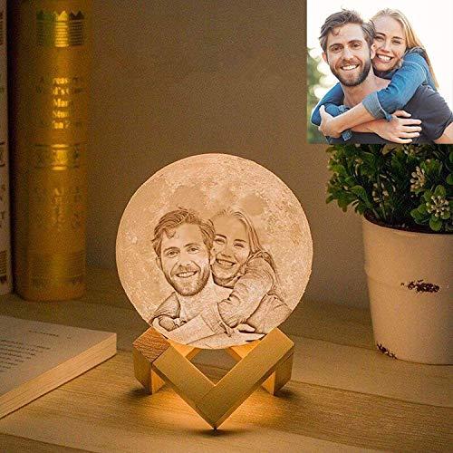 Gahaya lampada luna personalizzata foto personalizzata romantica luce notturna creativa stampata in 3D con supporto touch control e regali USB ricaricabili 12 cm 3 colori