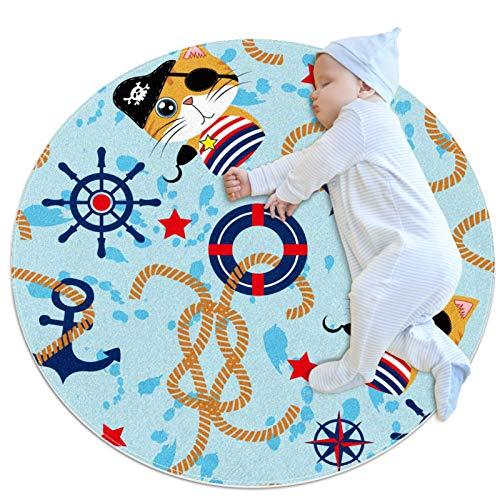 Alfombra Redonda Brújula de Ancla de Gato Alfombra Redonda decoración Arte Antideslizante niños Lavables a máquin Suave Sala Estar Dormitorio de Juegos para 80x80cm