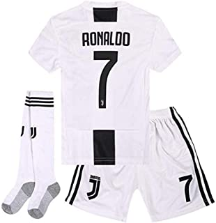 Feeke #7 Ronaldo Shirt Juventus Home Soccer Tshirt 18-19 Season for Kids/Youth with Socks & Shorts White