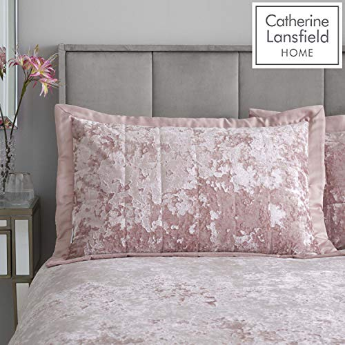Catherine Lansfield Crushed Velvet Pillowsham Pair Blush
