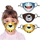 3 Piezas m_ascarill_as niños Reutilizables Lavables Divertidas con Bolsa de Filtro impresión de Animales de Dibujos Animados con Correas para los oídos Ajustables