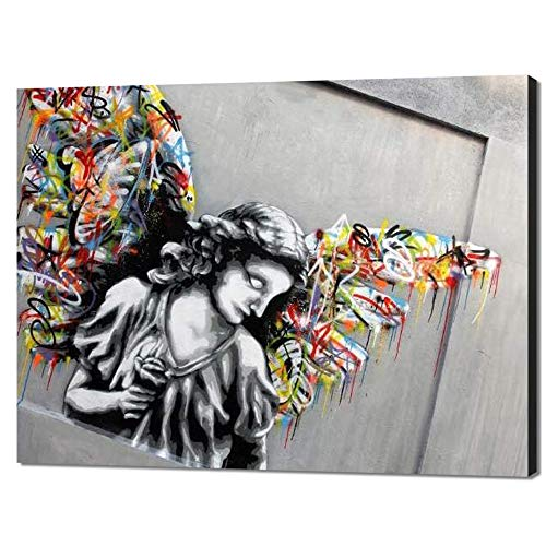 Yatsen Bridge Angel Street Graffiti Wings Wall Art Banksy Canvas Artwork Modern Home Wall Decorations for Man Cave Dorm Stretched and Framed Ready to Hang - 24x18 inch