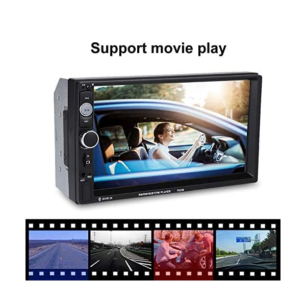 Terisass Car Player 7032B 7 Inch Double Din Touch Screen Car BT MP5 Player Stereo Radio Bluetooth Sound Modified Car Music Video Receiver USB AUX Remote Control Support Reverse Image 5