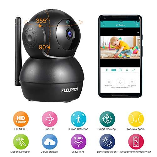 FLOUREON 1080P IP Kamera WLAN Überwachungskamera Pan/Tilt IP Cam P2P Netzwerkkamera Baby Monitor 2 Wege Audio IR Nachtsicht Bewegungsmelder (Schwarz)