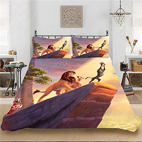 Simba Lion King Bed Linen Set, Children's Duvet Cover, 3 Pieces, 1/2 People, The Lion King Duvet Cover Set, Pillowcase, Microfibre, Cosy, Soft Duvet Cover, Children (A7,200 x 200 + 50 x 75 x 2)