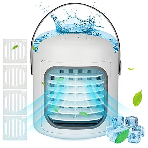 UBEGOOD Aires Acondicionados Móviles, 4 en 1 Móvil Ventilador Mini Enfriador de Aire Silencioso Climatizador Humidificador Purificador 3 Velocidades Ajustables, 7 Colors LED para Hogar, Oficina