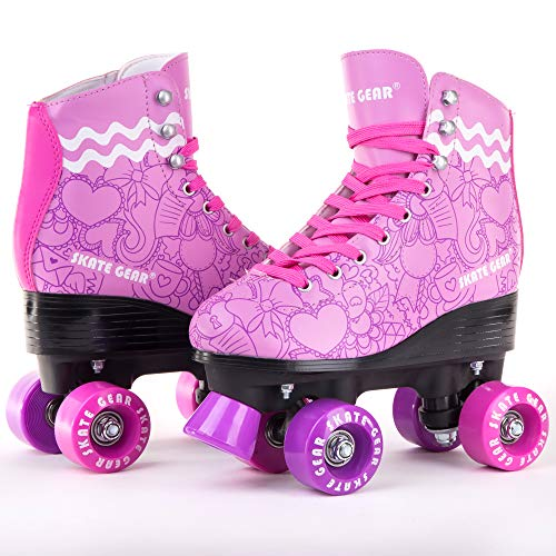 C SEVEN Skate Gear Cute Roller Skates for Kids and Adults (Classic Purple, Women's 5 / Youth 4)