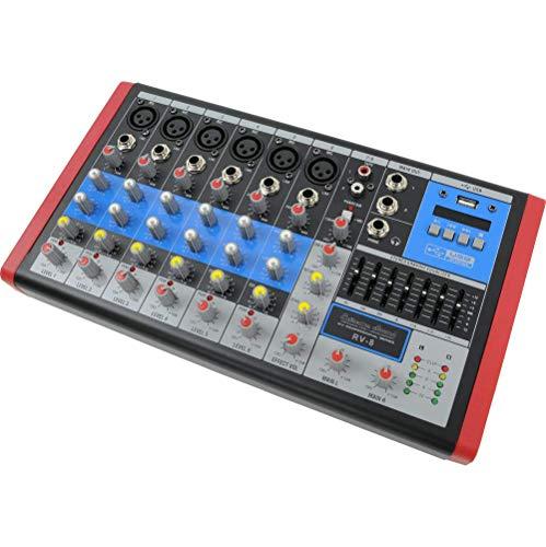 EXTREME SOUND RV-8 MIXER AUDIO PRO 6/8 canali Audio, Bluetooth, USB-MP3 Player, Effetti Riverbero, Phantom Power per MIC Professionali, Equalizzatore e VU-Meters di uscita. Assistenza Italia
