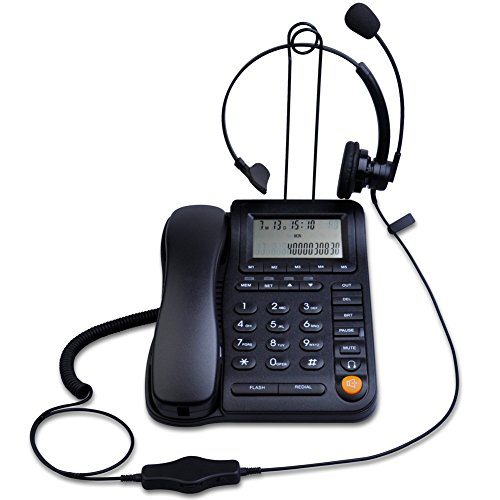 KerLiTar LK-P017B Call Center Corded Phone with Caller ID Receiver and Monaural Headset Noise Canceling Microphone