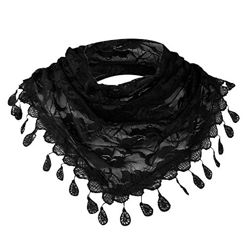 Clearance Sale!Women Clearance Lace Tassel Rose Floral Hollow Scarf Shawl Lady Wraps Scarves (Black)