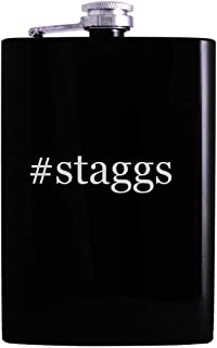 #staggs - 8oz Hashtag Hip Alcohol Drinking Flask, Black