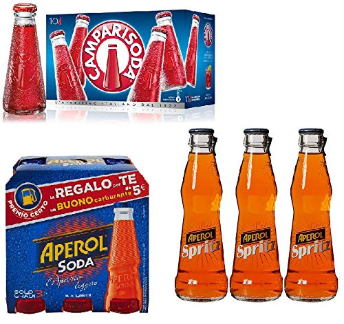 Campari Soda 10 x 98 ml. - Campari Aperitif + Aperol Soda 6x125ml + Aperol spritz soda Aperitiv Aperitif 3x 175ml bitter ginger aus italien