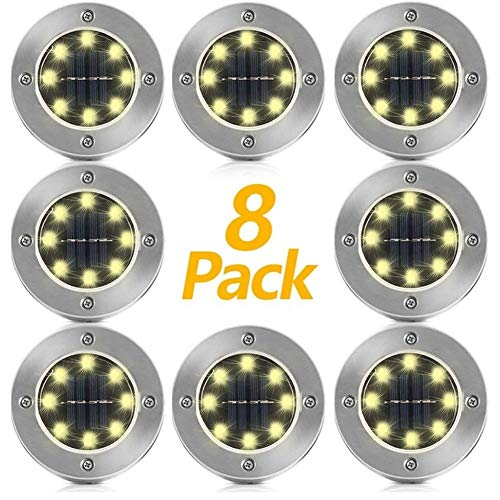 XiuLi Solar Ground Lights, Upgraded Outdoor Garden Waterproof Bright in-Ground Lights for Lawn Pathway Yard Driveway, Producing More Light with 8 LED (Warm White) (Color : Warm Light, Size : 8)