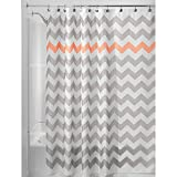 iDesign Fabric Chevron Shower Curtain for Master, Guest, Kids', College Dorm Bathroom, 72' x 72', Gray and Coral