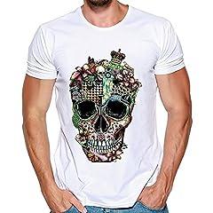Camisetas de Manga Corta para Hombre con Estampado de Calaveras para Hombre