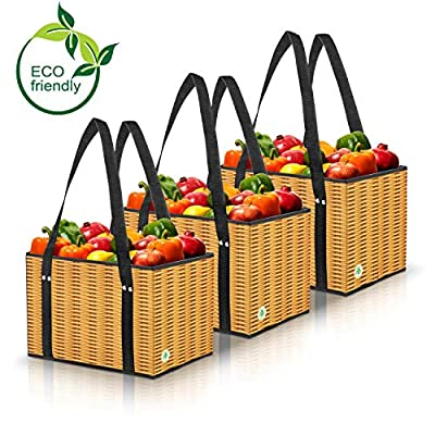Green BD's Reusable Grocery Bags. Large, Stain Resistant & Spillover Proof. Eco Friendly Collapsible Shopping Box Bags with Laminated Wicker Print Exterior. (Set of 3)