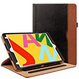 ZoneFoker New iPad 7th Generation Tablet Leather Case (10.2-inch,2019 Releases), 360 Protection Multi-Angle Viewing Folio Stand Cases with Pencil Holder for iPad 10.2 7th Gen - Black/Brown