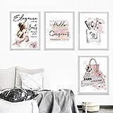 HNZKly Vogue Perfume Botella Belleza Niña Color de Rosa Flowe Poster Moda Señora Pared Arte Maquillaje Lienzo Impresiones Pinturas Moda Salon Habitación Decoracion 30x40cmx4 / Sin Marco P98