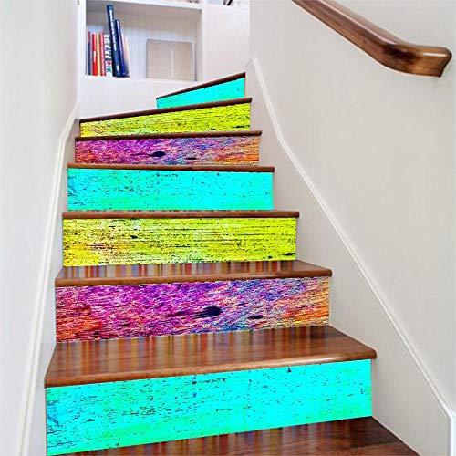 GVRPV Treppenaufkleber6 Stück/Set 3D Personality Staircase Floor Sticker Selbstklebende DIY Treppe Wasserdichtes PVC Wandtattoo Home Decor