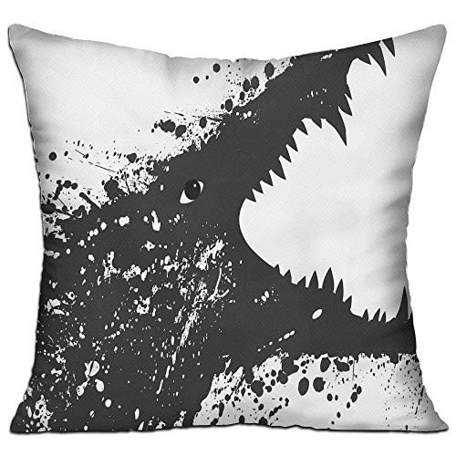 MLNHY Safari Black and White Crocodile Image with Grunge Drawing Style Attacking River Warrior Decorative Black White Living Room Decor Throw Pillow Cover 18\