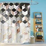 MeYuxg Duschvorhang Anti-Schimmel 180 x 200cm, Geometrische Duschvorhänge aus Polyester, Wasserdicht Anti-Bakteriell Waschbar Duschvorhänge Badvorhang für Badezimmer mit 12 Duschvorhängeringen