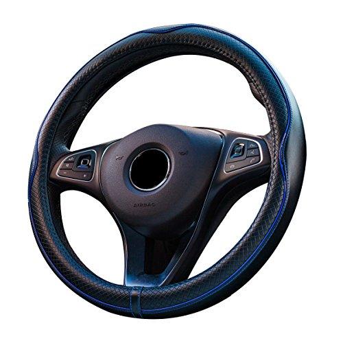 Lenkradbezug aus Leder, universal passend, atmungsaktiv, rutschfest, Lenkradschutz (schwarz/blau)