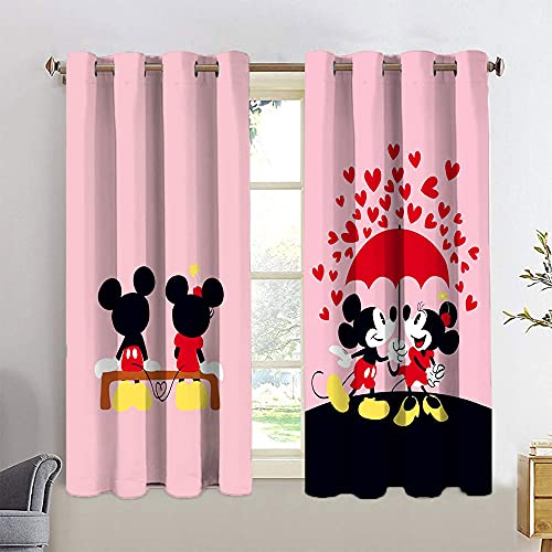 Light Blocking Curtains Mickey Minnie Mouse Grommet Blackout Curtains 2 Panel Kitchen Cafe Curtains W42 x L54