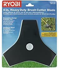 "Ryobi Genuine OEM AC04105 8"" Replacement Heavy Duty Reversible Steel Tri-Arc Brush Cutting Blade for Ryobi Expand-It Models"