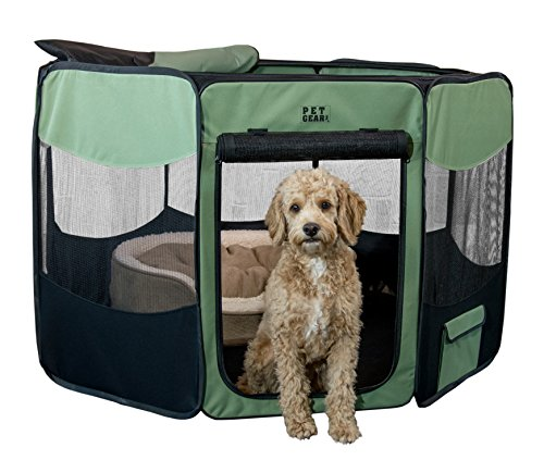 Pet Gear Travel Lite Octagon Pet Pen with Removable Top for Cat and Dog up to 60-Pound, 36-Inch, Sage