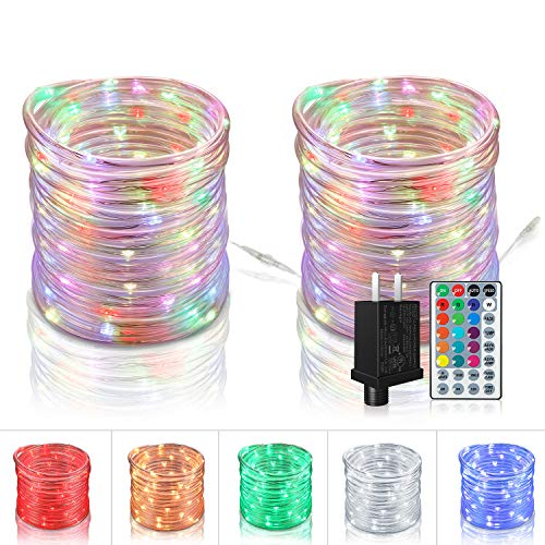 Tesyker Rope Lights, Outdoor String Lights 80 Ft 240 LEDs Led Rope Lights, Color Changing Lights Rope Lights with Remote 16 Colors, Connectable Multicolor Lights for Deck Patio Roof Porch Lawn Pool