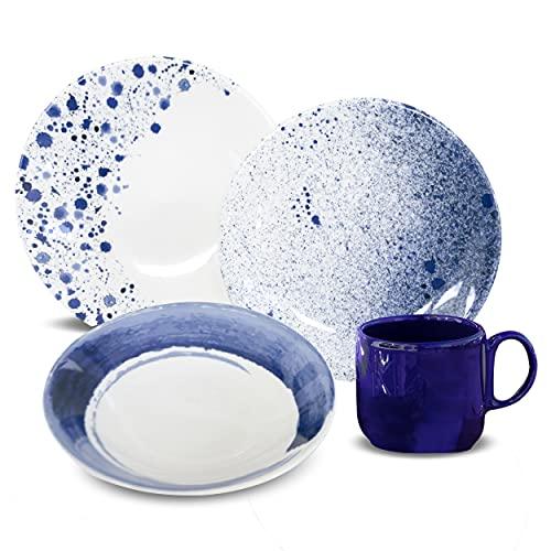 Anfora Vajilla de Porcelana 16 Piezas (Blue Wave)
