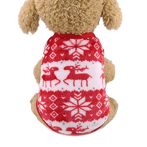 KTUCN Kleine Hundekleidung, Warmer Winterhundemantel, Baumwollwelpenkleidung Welpenwestenkleidung, Rotwild, XL
