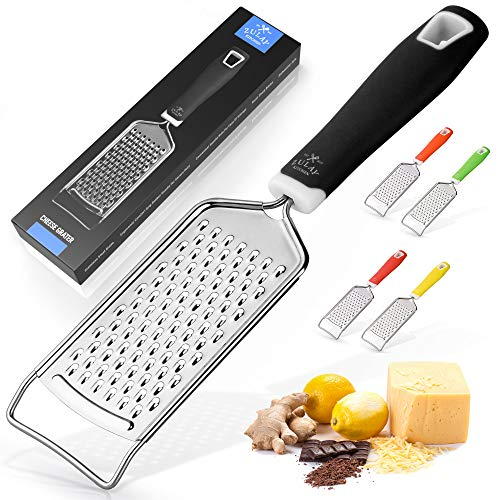 Zulay Kitchen Professional Cheese Grater Stainless Steel - Durable Rust-Proof Metal Lemon Zester Grater With Handle - Flat Handheld Grater For Cheese, Chocolate, Spices, And More - Black