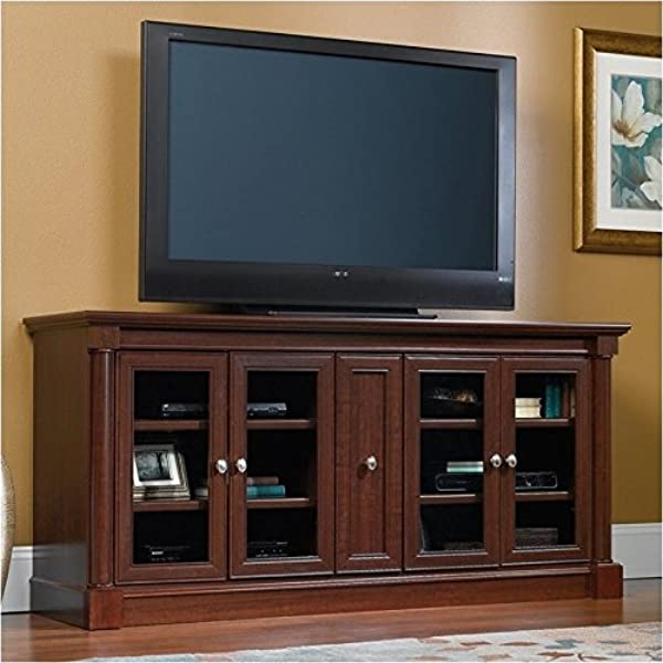 Pemberly Row Entertainment Credenza With Cord Management For TV S Up To 70 2 Door Options Included Glass Or Wood Cherry Finish