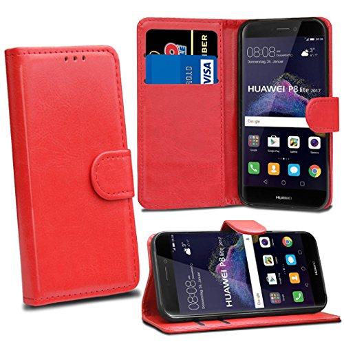Funda para Huawei P8 Lite 2017 – Funda de Piel con Tapa para Huawei P8 Lite 2017 [Tarjetero] [Cierre magnético], Compatible con Huawei P8 Lite 2017 (Fabricado en Piel sintética.), Color Rojo